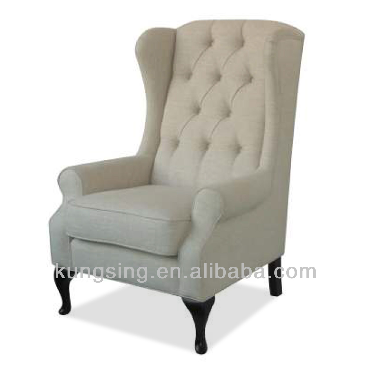 button tufted back wing chair