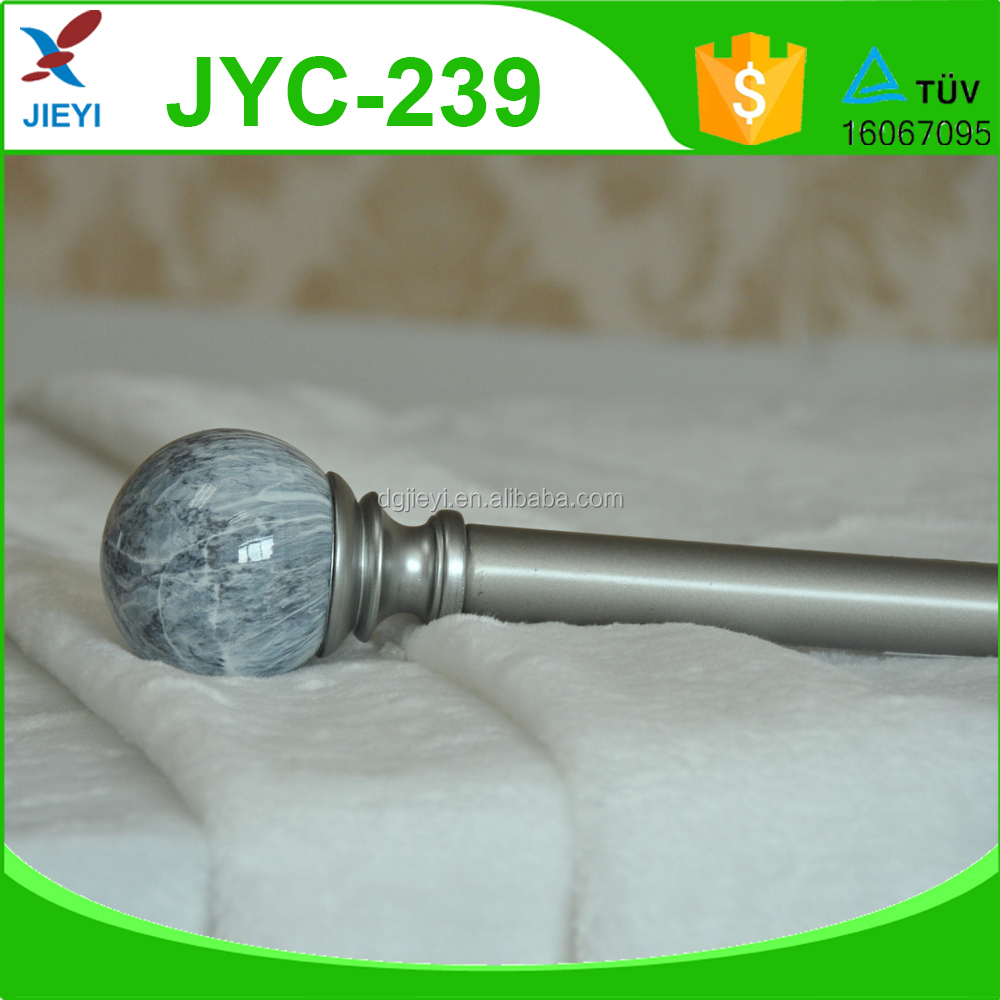 High quality iron decorative round marble effect curtain rod with brackets