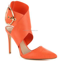 2015 JUSITY Elegant Orange PU Ladies Summer Sandals Import Shoes Made in China
