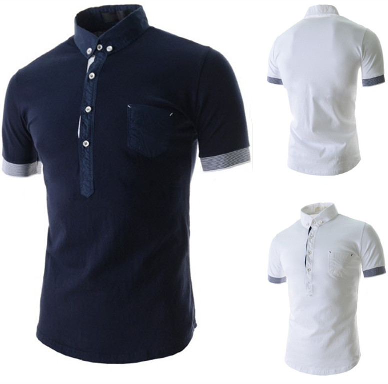 Business casual summer wear fashion short sleeve pocket for Business casual polo shirt