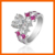 LT JEWELRY 2017 LATEST FASHION 925 SILVER GIRLS' ZIRCON RING ROSE SHAPED DIAMOND ENGAGEMENT RING