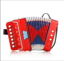 Children 7 key 2 bass 14 notes cheap and colorful plastic accordion for promotion