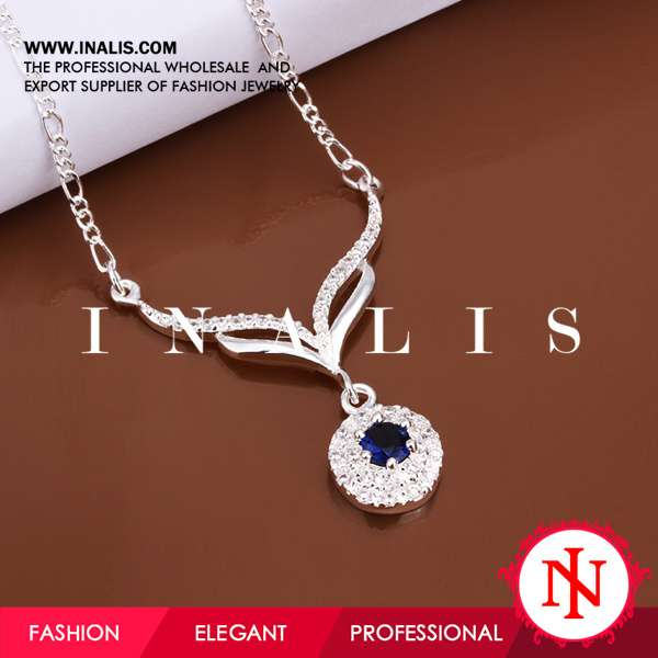 Innovative 925 silver plated initial disc pendant necklace N498