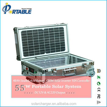 55W portable solar panel system,solar panel power generator lights/fans/TV