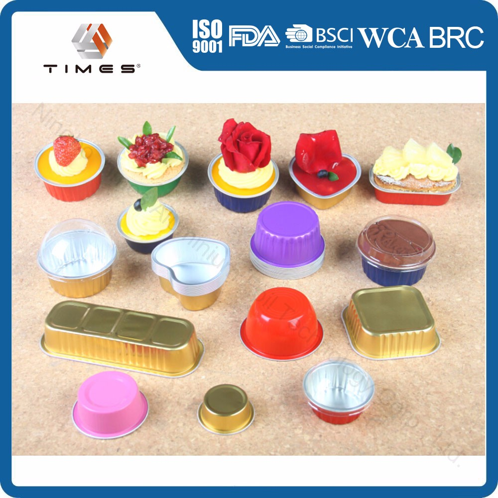 Smooth wall Colorful Aluminium foil bakery container