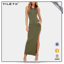 Hot selling new Style Olive Sleeveless Backless Women Long Maxi Dress