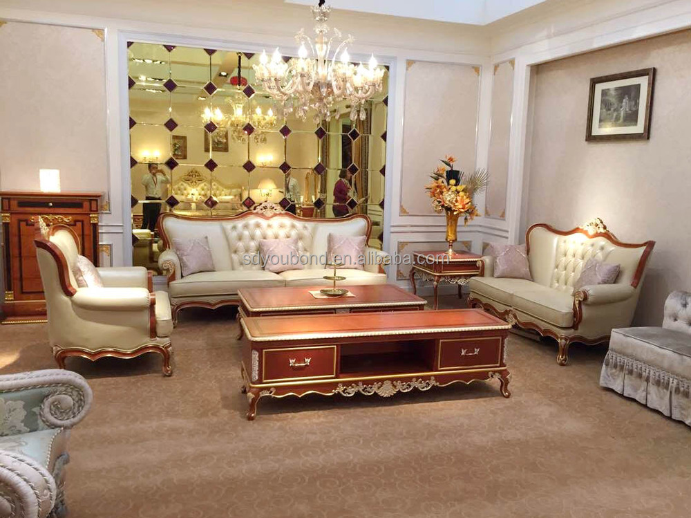 2015 high end design wooden cow leather sofa set for royal for Royal living room designs