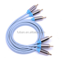 Wholesale Hot Sale Gold Plated Audio Cable 3RCA Blue Cable