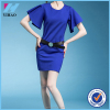 Yihao Women Blue short Sleeve 0 Neck Slim Pencil Dresses Modest Formal Elegant thick Soft Dress graceful women latest fashion