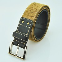 Hot sale Smoke PAttERNS yellow canvas+black PU leather men belt with alloy buckle
