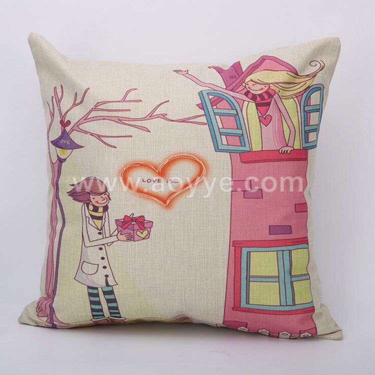 New Cute Microfiber Festival Linen Fabric Printed Loving Heart Pink Cartoon Characters Printed Throw Pillow Cover
