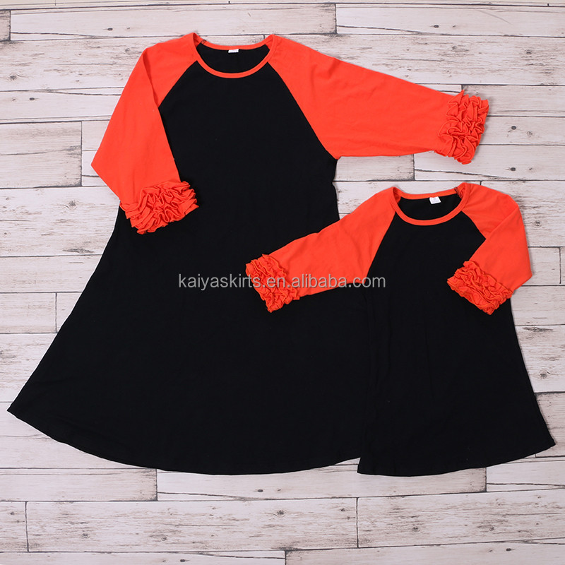 2016 new design mom and baby boutique cotton icing ruffle fall dress wholesale