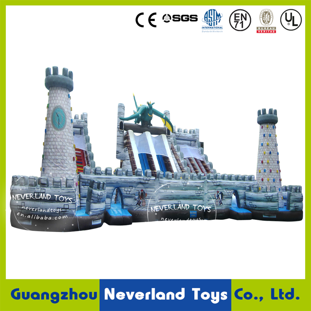 NEVERLAND TOYS Pop Giant Inflatable Dinosaur Combo with Climbing Wall & Slide High Quality for Sale