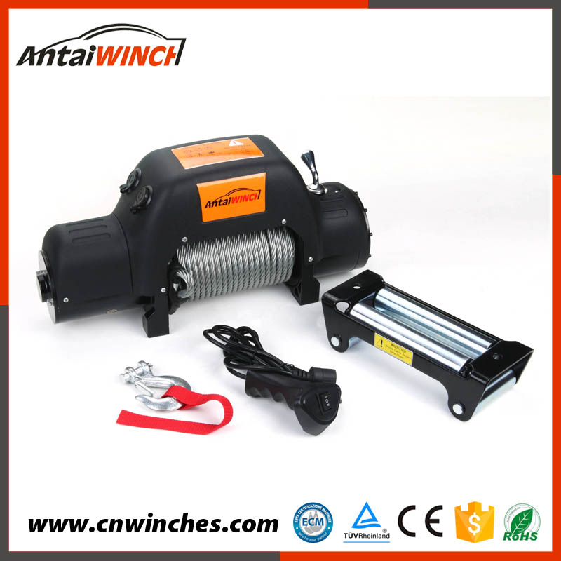 12000lb electric car winch 12v waterproof,power wire rope high speed longline winch
