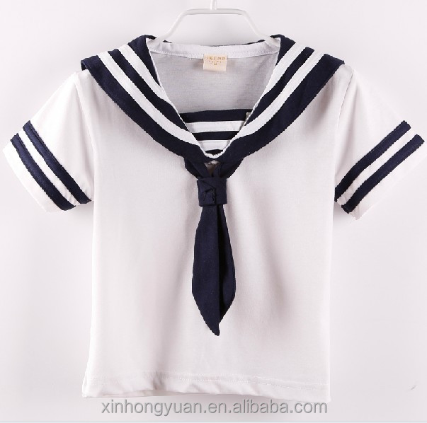 Sailor kids white stripe collar school uniforms shirts