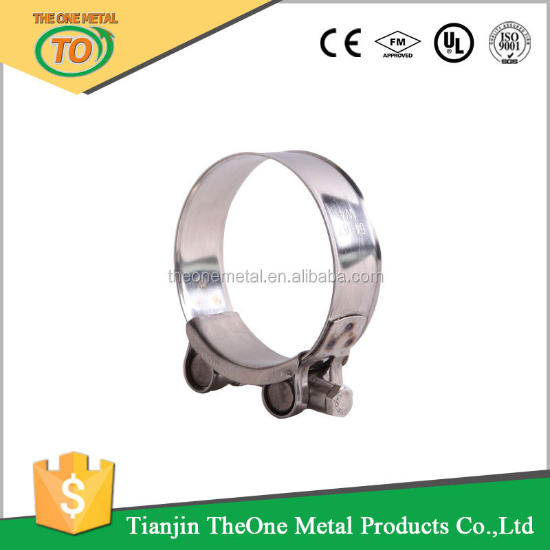 Zinc plated steel Single bolt heavy duty with soild nut Robust super hose clamp