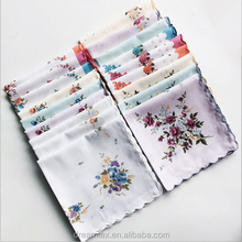 Lady Floral Scallop Printed Cotton Handkerchief wholesale