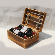 Dark Torched Wood Six Bottle Wine Case, Top Handle Hinged Lid Carrier, Brown