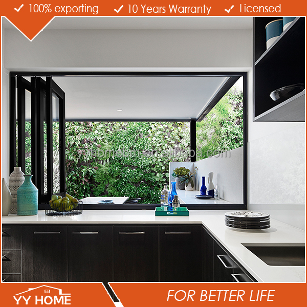 YY Home double tempered glass aluminum frame or frameless double glazed folding window anodised