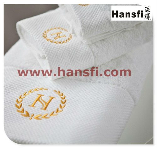 100% cotton white embroidered logo jacquard bath towel