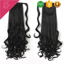 synthetic hair 1B# Off Black ponytail hair extensions