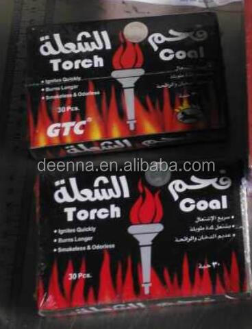 Arabia Market Popular Products GTC Torch Coal Charcoal for Shisha Hookah Smoking