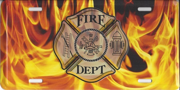 Fire Fighter Logo With Flames Metal License Plate