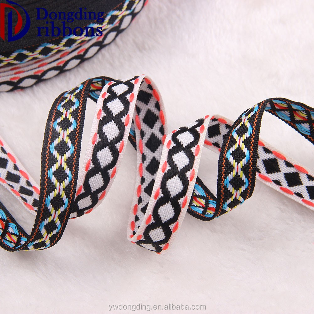 High quality wrist belt webbing embroidered trim woven ribbon jacquard ribbon