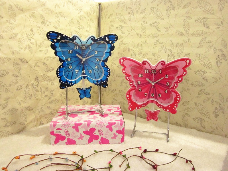 Fashion Butterfly Sway Swing Table Stand Alarm Clock for Gift Shops