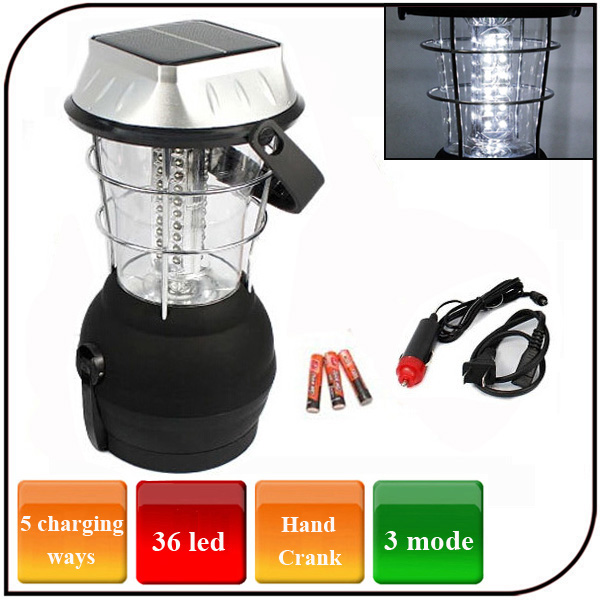 32 led powered by hand crank AAA battery solar pannel emergency led solar camping lantern lamp