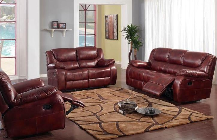 Modern Burgundy Leatherette Reclining Sectional Sofa (FOH-SF3606)