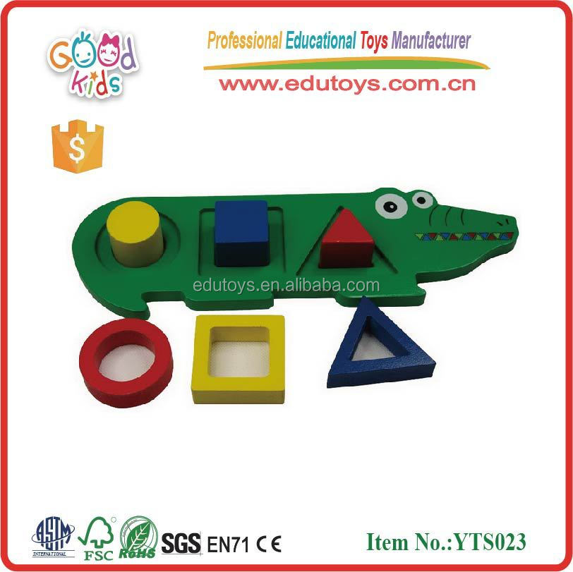 wooden block toys for kids crocodile geo shape board
