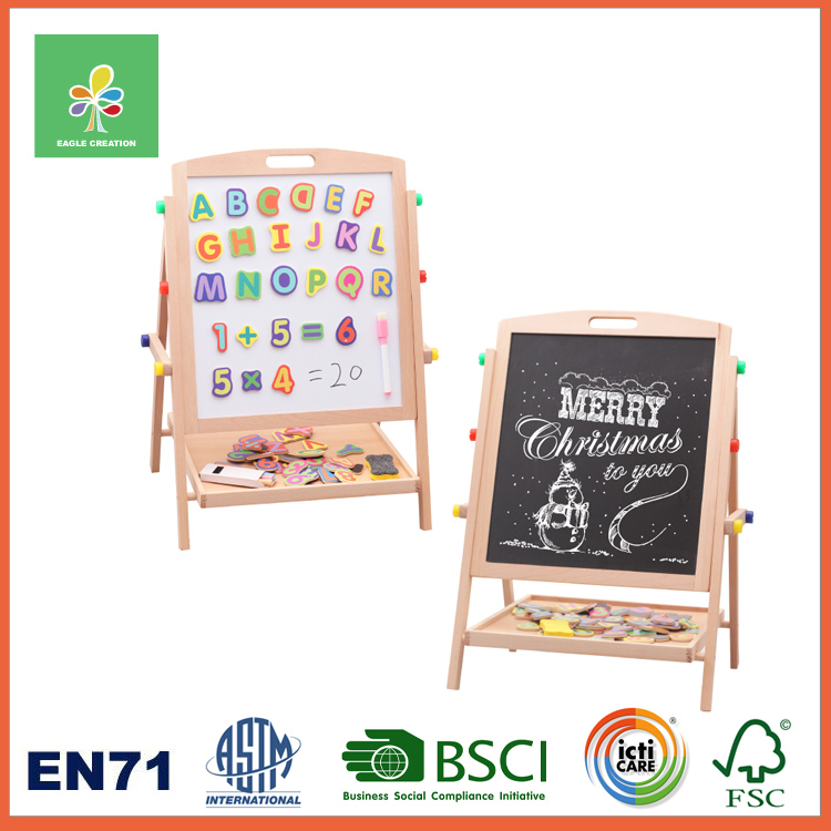 Wooden Magnetic Kids Chalkboard & Whiteboard Easel Natural Wood