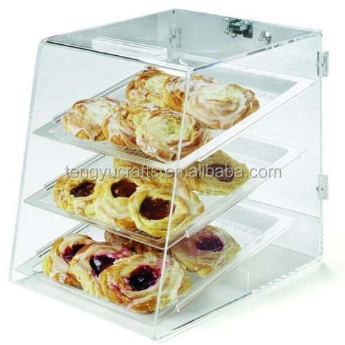 advertising display bread cake cupcake pastry donut display box 100% plastic clear acrylic Bakery shelves for bead store