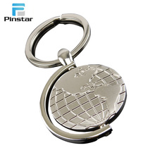 Customized mini earth shaped metal keychain for good souvenirs