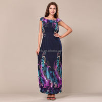 Dark Blue Promotional new long section of a large swing peacock print silk chiffon dress