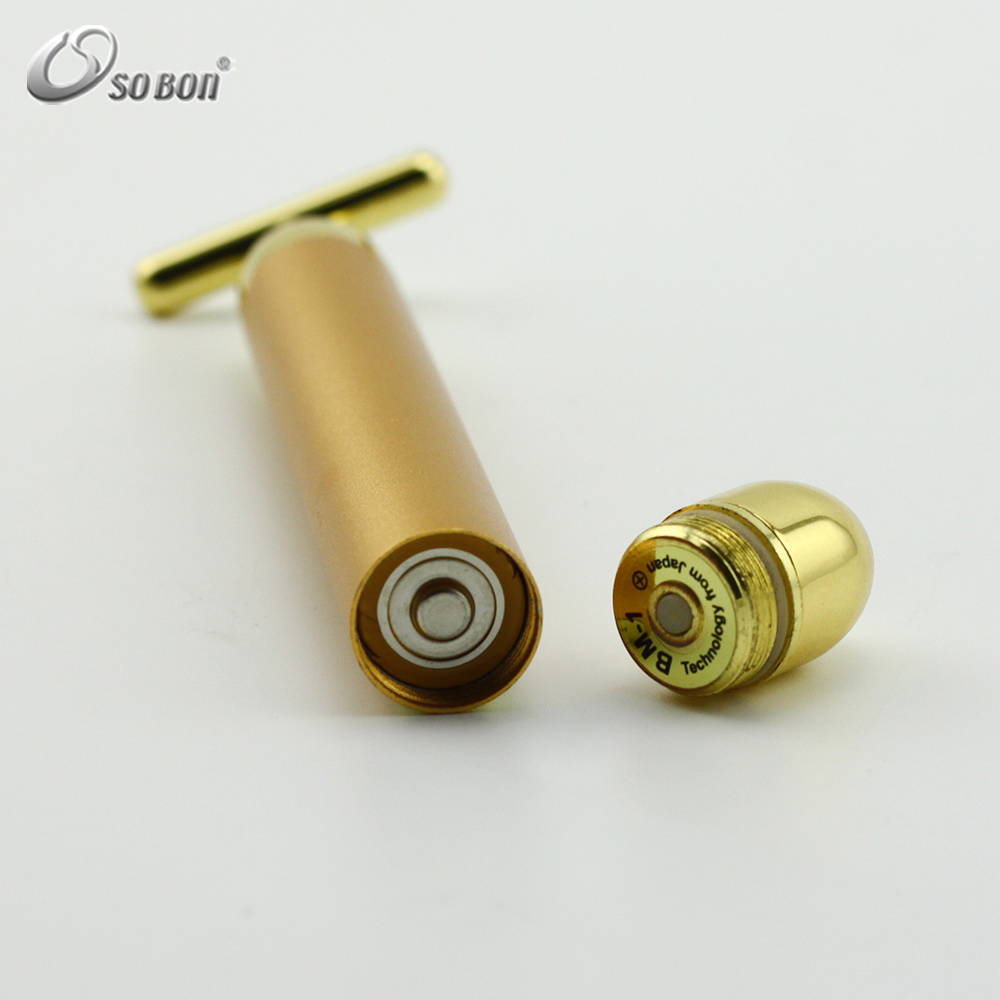 Hot sale blood circulation device T shape 24k gold anti aging vibrating face massager
