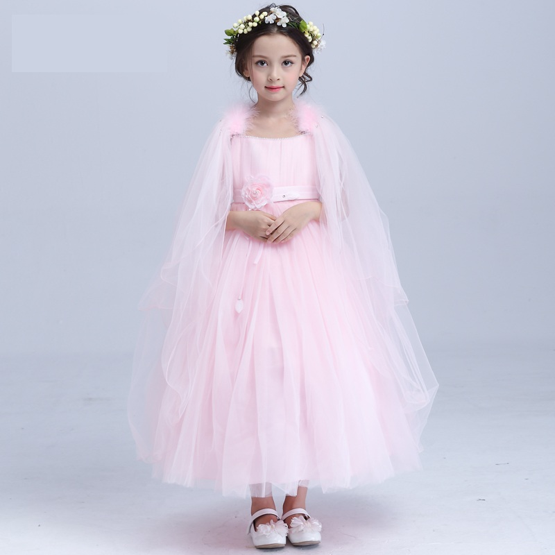 2017 pictures of latest kid long gowns designs little girls dress sleeveless flowering bowknot children dresses