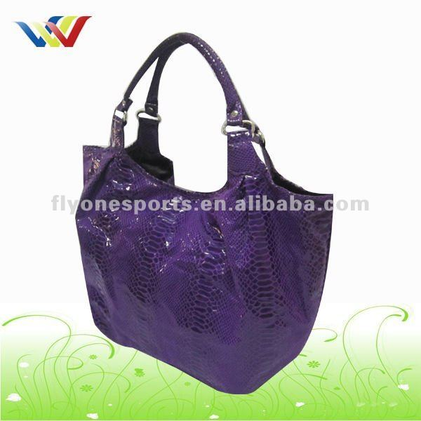 Top quality Ladies Fashion Purple Snake PU Handbag