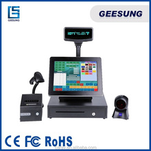 Touch screen pos system , POS printer 80 mm,15 Inch thermal driver POS machine