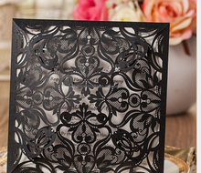 2016 Square Black Flower Laser Cut Wedding Invitation Card Wedding Pocket Envelope Cover card lazer wedding Favor supply
