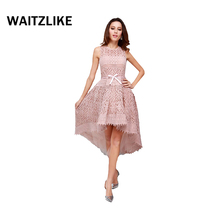 2018 New Arrival beautiful best pink front short long back lace evening prom dresses in china