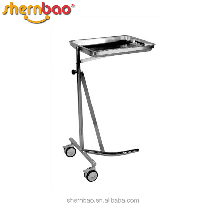 Shernbao KB-531 Stainless Steel Vet Tools tray Trolley Medical Mayo Table