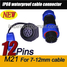 5pair/lot M21 IP68 12pin Waterproof Electrical Wire cable Connector male plug +female rear mount socket for 7-12mm wire