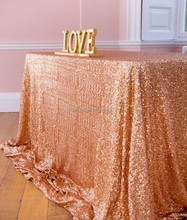 Shiny Beauty Sparkly Metallic Overlays Tablecloth Rose Gold Sequin Table Cloth
