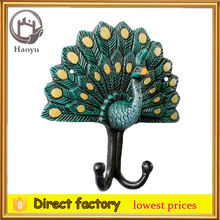 cast iron peacock shaped key hook for garden decoration