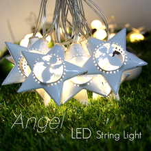 Battery operated metal outdoor string star shape led christmas lights