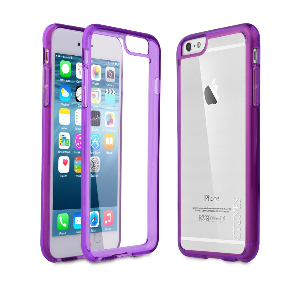C&T Hot Pink Hybrid Slim Shock Absorbing TPU Bumper and Clear Thin Hard Transparent Cover for iPhone 6 / 6S