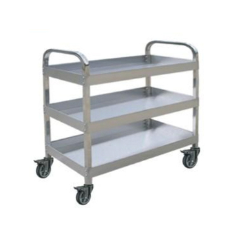 Three Shelf Detachable Metal Cart Stainless Steel Utility Carts