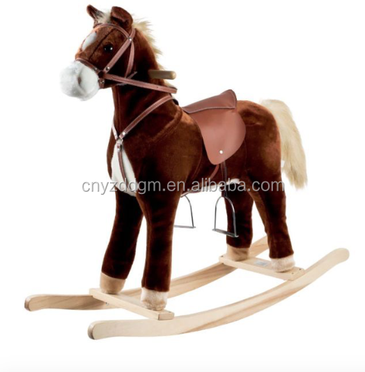 Wooden base plush rocking horses for kids/cheap rocking horse/ Plush Toy Stuffed Rocking Horse